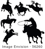 #56260 Royalty-Free (Rf) Clip Art Of A Digital Collage Of Black Cowboy Silhouettes - Version 2