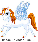 #56261 Clip Art Of A Blue Eyed White Winged Pegasus Horse With An Orange Mane And Tail