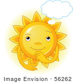 #56262 Clip Art Of A Glowing Sun Character In Thought With A Cloud Above Its Head