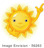 #56263 Clip Art Of A Friendly Yellow Sun Gesturing Upwards