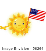 #56264 Clip Art Of A Glowing Sun Character Holding An American Flag On Independence Day