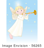 #56265 Clip Art Of A Cute Innocent Blond Femal Angel With A Halo Playing A Horn