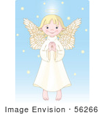 #56266 Clip Art Illustration Of An Innocent Blond Femal Angel With A Halo Holding Her Hands Together