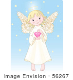 #56267 Clip Art Of A Cute Innocent Blond Femal Angel With A Halo Holding A Pink Heart