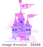 #56268 Clip Art Illustration Of A Purple Castle With Pink Turrets And Heart Flags, Floating In The Clouds by pushkin