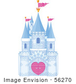 #56270 Royalty-Free (RF) Clip Art Illustration Of A Blue Brick Fantasy Castle With Heart Gates And Pink Flags by pushkin