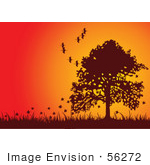 #56272 Royalty-Free (Rf) Clip Art Fall Tree Silhouetted Against An Orange Sunset With Falling Leaves And Flying Birds