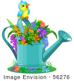 #56276 Clip Artillustration Of A Cute Bird Perched Over Flowers In A Watering Can
