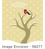 #56277 Royalty-Free (Rf) Clip Art Chatty Robin Bird Sitting On Top Of A Winter Tree With A Text Balloon