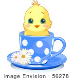 #56278 Clip Artillustration Of An Adorable Yellow Chick In A Blue Polka Dotted Tea Cup