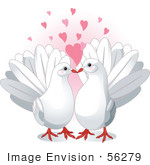#56279 Royalty-Free (Rf) Clip Art Pair Of Cute White Doves In Love Under Pink Hearts