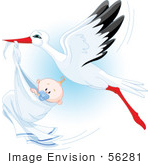 #56281 Royalty-Free (Rf) Clip Art Beautiful Stork Delivery A Baby Boy