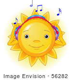 #56282 Clip Art Illustration Of A Cute Sun Character Listening To Music And Wearing Headphone