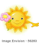 #56283 Clip Art Illustration Of A Cute Sun Character Holding A Pink Flower