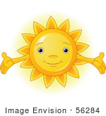 #56284 Clip Art Illustration Of A Cute Sun Character Holding Out Its Arms