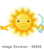 #56285 Clip Art Illustration Of A Cute Sun Character Holding A Bottled Beverage