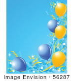 #56287 Royalty-Free (Rf) Clip Art Illustration Of A Blue Vertical Background Bordered With Blue And Yellow Balloons And Confetti
