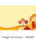 #56290 Royalty-Free (Rf) Clip Art Illustration Of A Faint Orange Autumn Background With Retro Styled Trees And Colorful Leaves