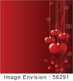 #56291 Royalty-Free (Rf) Clip Art Illustration Of A Red Square Valentines Day Background Of Heart Pendants And Mesh Waves