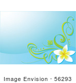 #56293 Royalty-Free (Rf) Clip Art Illustration Of A Blue Background With A Plumeria Flower Corner Accent
