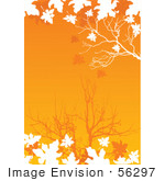 #56297 Royalty-Free (Rf) Clip Art Illustration Of White Silhouetted Autumn Leaves And Branches Over An Orange Background