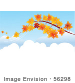 #56298 Royalty-Free (Rf) Clip Art Illustration Of A Tree Branch With Orange Autumn Leaves Falling Off In The Breeze