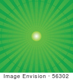#56302 Royalty-Free (Rf) Clip Art Illustration Of A Green Radial Burst Background Of Light Rays