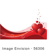 #56306 Royalty-Free (Rf) Clip Art Illustration Of A White Background With A Bottom Border Of Red And Pink Waves Swirls And Red Hearts