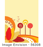 #56308 Royalty-Free (Rf) Clip Art Illustration Of A Faint Orange Autumn Background With Retro Styled Trees Birds And Colorful Leaves