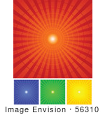 #56310 Royalty-Free (Rf) Clip Art Illustration Of A Digital Collage Of Red Blue Green And Yellow Radial Burst Backgrounds