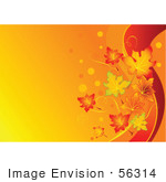#56314 Royalty-Free (Rf) Clip Art Illustration Of A Gradient Orange Fall Leaf Background With Red Swooshes