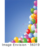 #56319 Royalty-Free (Rf) Clip Art Illustration Of A Bottom And Side Border Of Colorful Star Confetti And Party Balloons Against Blue