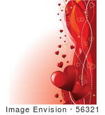 #56321 Royalty-Free (RF) Clip Art Illustration Of A Romantic Gradient White And Red Valentines Day Background With A Right Border Of Swooshes And Hearts by pushkin
