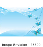 #56322 Royalty-Free (Rf) Clip Art Illustration Of A Blue Background With Blue Flying Butterflies