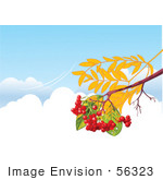 #56323 Royalty-Free (Rf) Clip Art Illustration Of An Autumn Branch With Berries Over Clouds In A Blue Sky With A Breeze