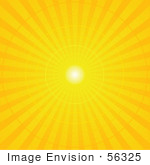 #56325 Royalty-Free (Rf) Clip Art Illustration Of A Yellow Radial Burst Background Of Light Rays