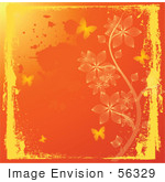 #56329 Royalty-Free (Rf) Clip Art Illustration Of A Grungy Orange Autumn Background With Flowers And Butterflies