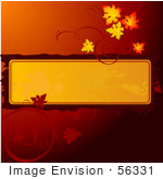 #56331 Royalty-Free (Rf) Clip Art Illustration Of A Gradient Dark Red Background With Autumn Leaves Around A Text Box