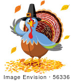 #56336 Royalty-Free (Rf) Clip Art Illustration Of A Thanksgiving Turkey Bird Wearing A Pilgrim Hat And Standing In Fall Leaves by pushkin