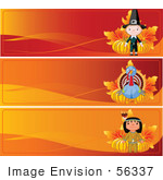 #56337 Royalty-Free (Rf) Clip Art Illustration Of A Digital Collage Of Three Thanksgiving Banners; Pilgrim Turkey And Native American