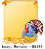 #56338 Royalty-Free (Rf) Clip Art Illustration Of A Turkey Bird By A Blank Thanksgiving Sign With Autumn Leaves