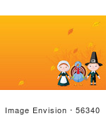 #56340 Royalty-Free (Rf) Clip Art Illustration Of Male And Female Pilgrims With A Thanksgiving Turkey Bird And Autumn Leaves On Orange