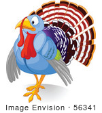 #56341 Royalty-Free (Rf) Clip Art Illustration Of A Nervous Blue Turkey Bird
