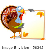 #56342 Royalty-Free (Rf) Clip Art Illustration Of A Thanksgiving Turkey Holding A Blank Autumn Sign With Text Space