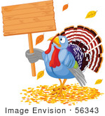 #56343 Royalty-Free (Rf) Clip Art Illustration Of A Thanksgiving Turkey Holding A Blank Wooden Sign In Autumn Leaves