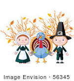 #56345 Royalty-Free (Rf) Clip Art Illustration Of A Thanksgiving Turkey Holding Hands With Pilgrims In Front Of Autumn Branches