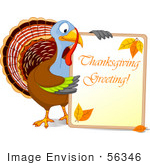 #56346 Royalty-Free (Rf) Clip Art Illustration Of A Turkey Bird Holding A Thanksgiving Greeting Sign