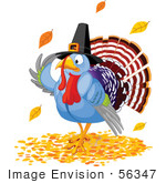 #56347 Royalty-Free (Rf) Clip Art Illustration Of A Thanksgiving Turkey Pilgrim Wearing A Hat And Standing In Autumn Leaves