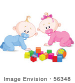 #56348 Royalty-Free (Rf) Clip Art Illustration Of A Baby Boy And Girl Crawing By Toys