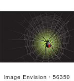 #56350 Royalty-Free (Rf) Clip Art Illustration Of A Black Widow Spider In A Web On Green And Black